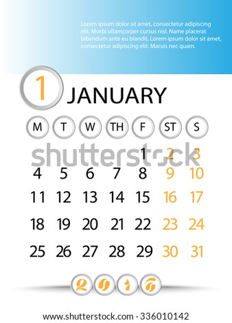 Classic month planning calendar in English for January 2016, Monday to Sunday  - stock vector