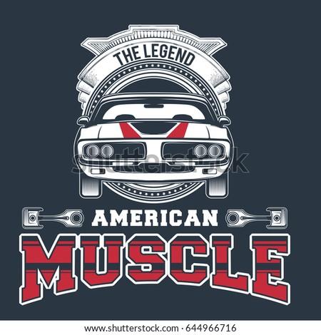 Set Classic Muscle Car Logo Stock Vector Shutterstock