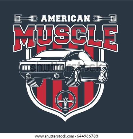 Classic Muscle Car Vintage Vector Stock Vector