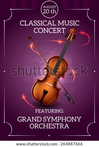 Classic music concert poster with violin and bow vector illustration - stock vector