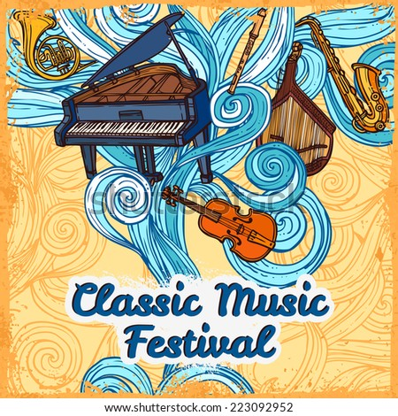 Classic music festival poster with piano violin trumpet instruments vector illustration - stock vector
