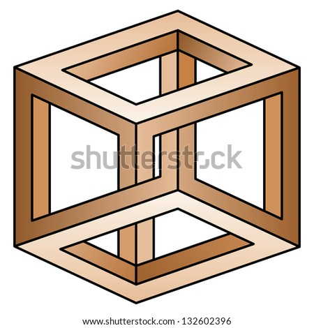 Classic optical illusion. Impossible geometrical figure - stock vector