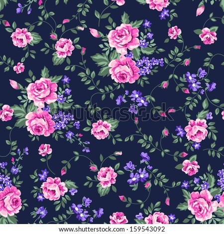 classic pink roses on navy ~ seamless vector background - stock vector