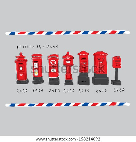 classic post box in thailand - stock vector