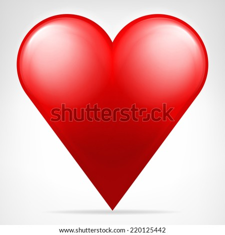 classic red heart icon isolated vector on white illustration - stock vector