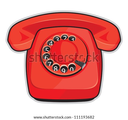 Classic 1970 - 1980 retro dial style red house telephone - stock vector
