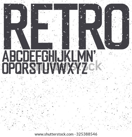 Classic Retro Uppercase Font. Set include textured background for designs - stock vector