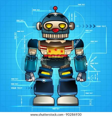 Classic robot blueprint of mechanic, background. Vector - stock vector