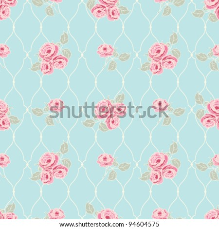 Classic rose pattern Seamless vector rose wallpaper - stock vector