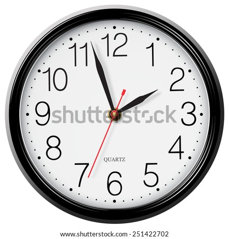 Classic round wall clock isolated on white - stock vector