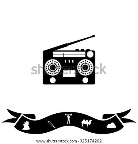 Classic 80s boombox. Black flat icon and bonus pictogram with ribbon. Vector illustration symbol - stock vector