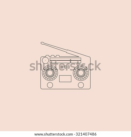 Classic 80s boombox. Outline vector icon. Simple flat pictogram on pink background - stock vector