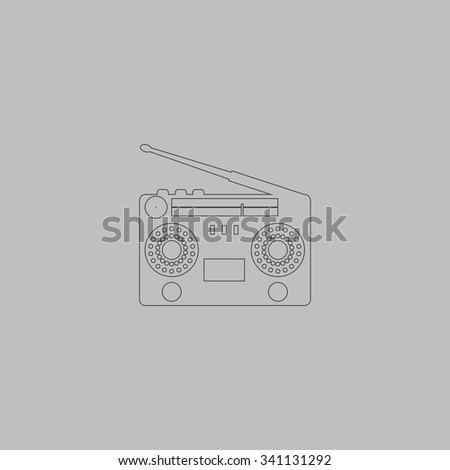 Classic 80s boombox. Outlne vector icon on grey background - stock vector