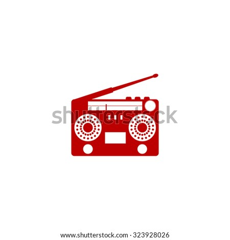 Classic 80s boombox. Red flat icon. Vector illustration symbol - stock vector