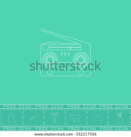 Classic 80s boombox. White outline flat symbol and bonus icon. Simple vector illustration pictogram on green background - stock vector