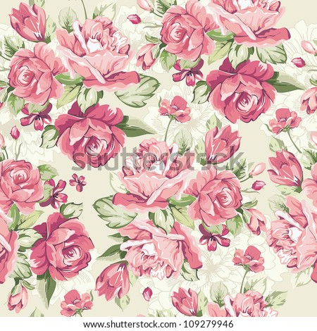 Classic Seamless floral background. Beautiful flower vector illustration. Elegance wallpaper with of pink roses on floral background. - stock vector