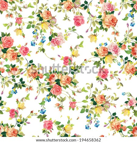 Classic seamless vintage flower pattern on white background - stock vector