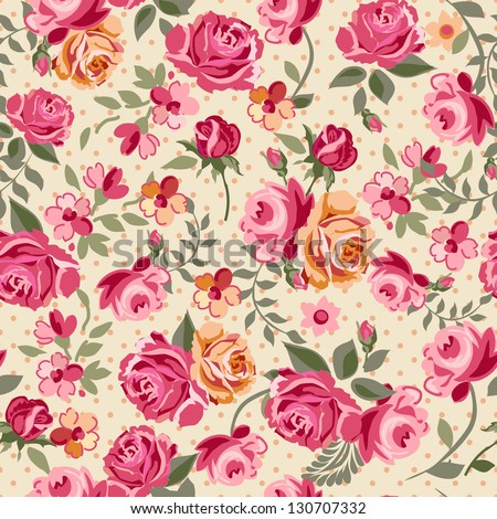Classic small rose seamless background - stock vector