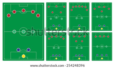classic soccer formation set - stock vector