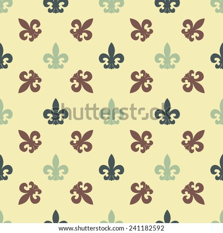 Classic stamp seamless pattern in retro colours. Heraldic vector element - Lily. Color infinite repeating pattern for the background or design elements. - stock vector