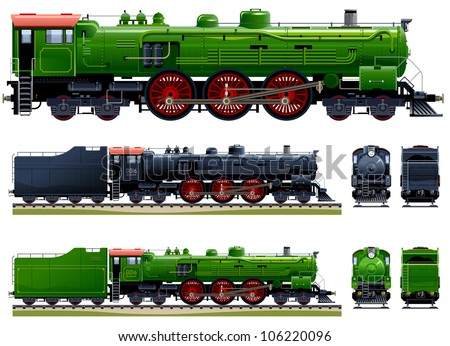 Classic steam locomotive (Train #10). Pixel optimized. Elements are in the separate layers. In the side, back and front views.  Please see my portfolio for the cars ( Image ID: 106220648 ) - stock vector