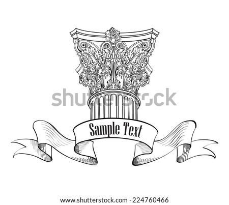 Classic style column label. Architectural sign isolated. Roman column. Arch design sketch - stock vector