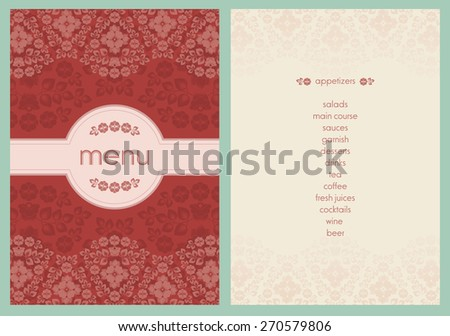 classic style flower decorated menu - light pink color flowers on bright red color background - stock vector