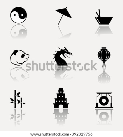 Classic symbols of China. Collection of vector icons on bright background. - stock vector