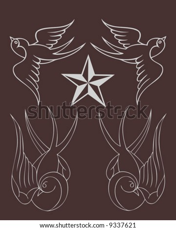 classic tattoo sparrows - stock vector