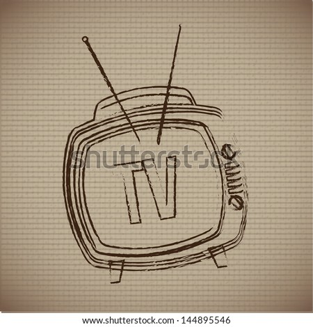classic television over vintage background vector illustration - stock vector