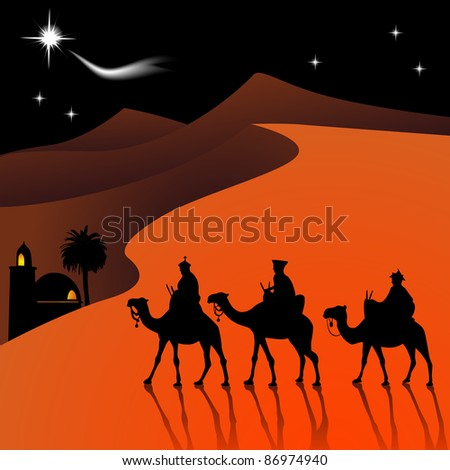 Classic three magic scene and shining star of Bethlehem. - stock vector