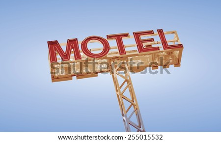 Classic travel neon motel sign against blue sky in vector - stock vector