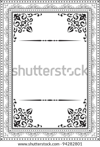 Classic vintage frame on white - stock vector