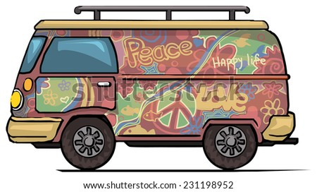Classic vintage hippie van, bus, painted, vector illustration - stock vector