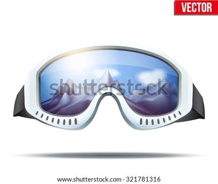 Classic vintage old school ski goggles with glass reflecting the winter mountains. Vector isolated on white background - stock vector