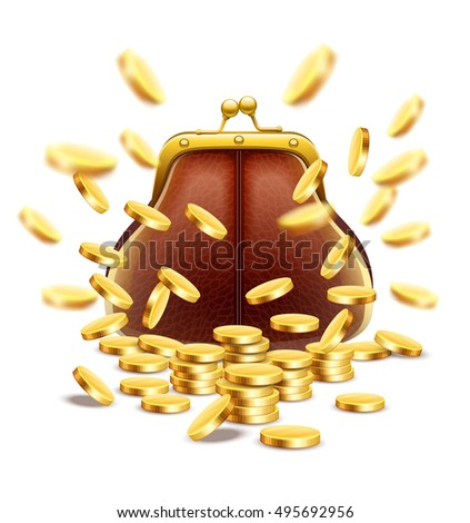 Classic vintage purse with gold coins money crumbling and falling down. Jackpot concept vector illustration. Isolated on white background