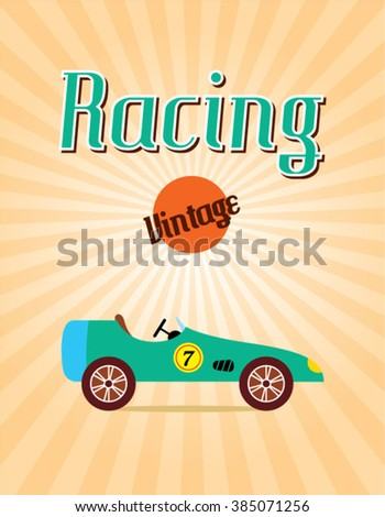 classic vintage race car racing poster vector illustration - stock vector