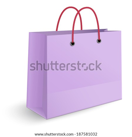 Classic violet paper shopping bag with red rope grips isolated on white background. View from one side.