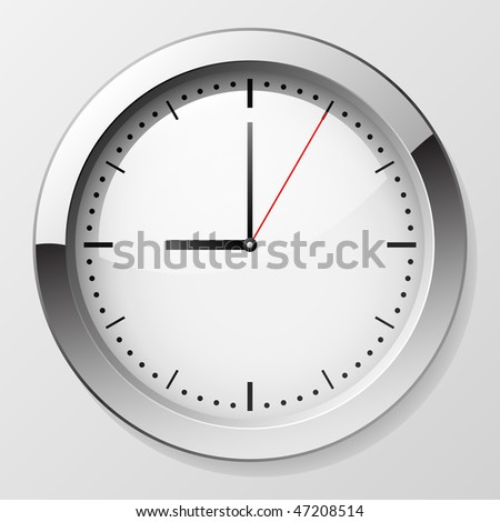 Classic wall clock with pointers at 9 o'clock symbolizing beginning of working day. EPS10 file. - stock vector