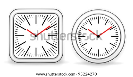 Classic wall clocks (round and square) vector