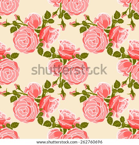classic wallpaper seamless vintage flower pattern on cream background