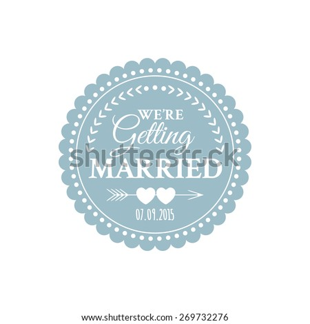 Classic wedding vintage badge in retro design with hearts and arrows - stock vector