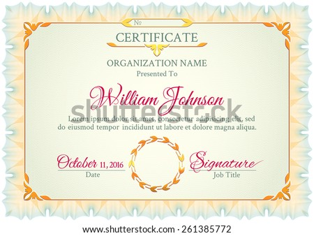 Classic white and green horizontal certificate with a guilloche pattern, vintage decorative elements and frame with space for stamp seal and congratulatory text - stock vector