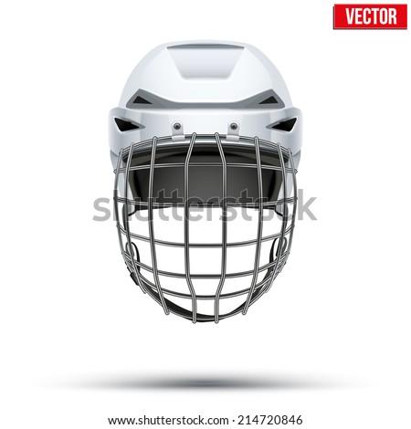 Classic white Goalkeeper Hockey Helmet. Sports Vector illustration isolated on white background. - stock vector