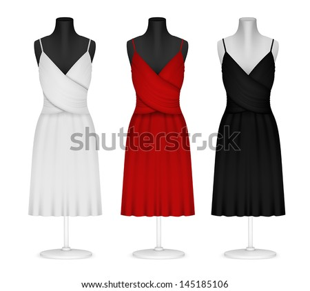 Classic women's plain dress template - stock vector