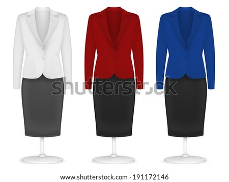 Classic women's plain jacket and skirt template. - stock vector