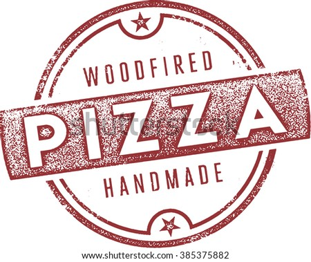 Classic Woodfired Italian Pizza Stamp - stock vector