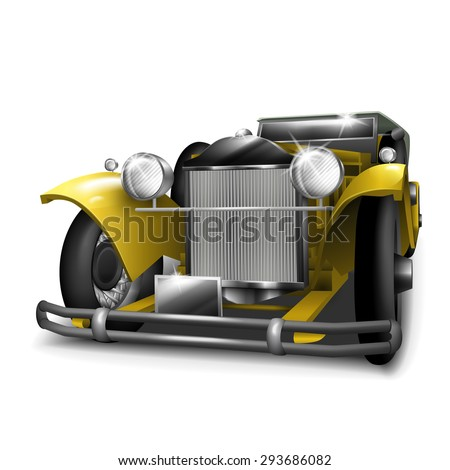 classic yellow car isolated on white background