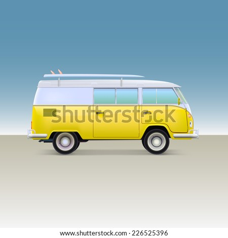 Classic yellow minivan with surfboard. Vintage bus, side view, vector illustration