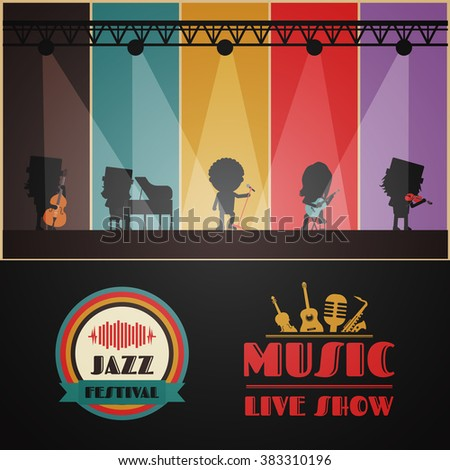 classical band on stage, retro music poster - stock vector